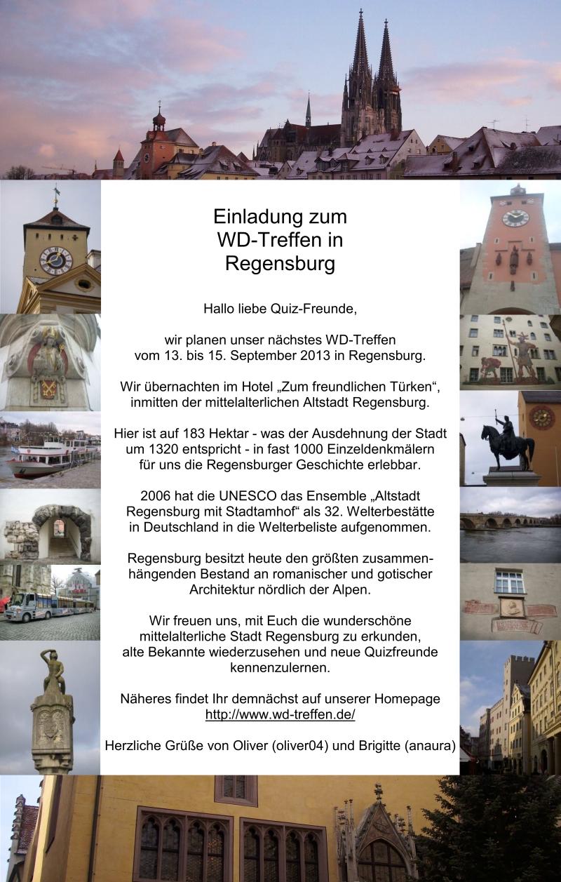 Einladung zum WD Treffen 2013 in Regensburg